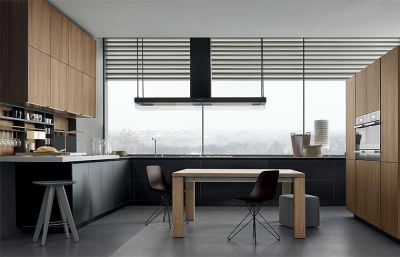 Contemporary Wood Grain and Charcoal Grey Melamine Kitchen Cabinets
