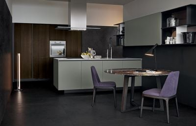 Wood Veneer and Grey Kitchen Two Tone Color Kitchen Design