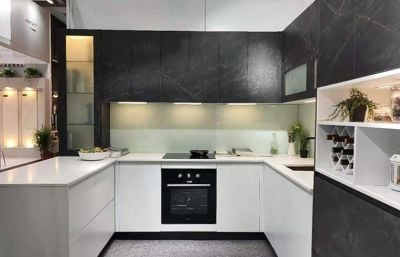 Comtemporary U Shaped Compact Two Tone Color Black And White  Kitchen Cabinet Design Idea