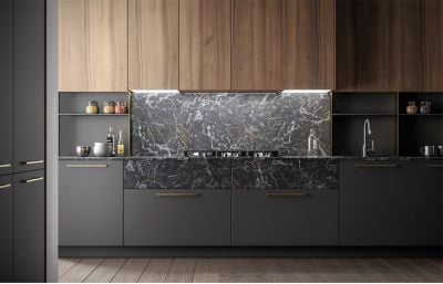 High End Luxury Laminate mixed Black Lacquer Kitchen Cabinets