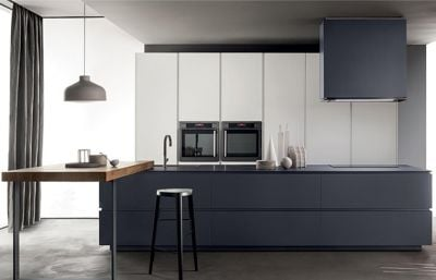 Lacquer White & Grey Modern Kitchen