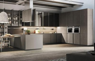 Luxury Modern Customized Unique Laminated Kitchen Cabinets With Glass Door