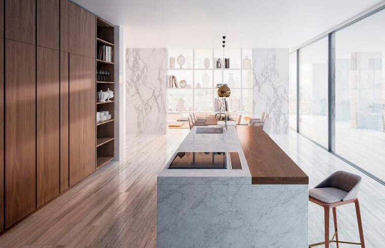 Contemporary Luxury Melamine Laminated Kitchen Cabinets with  Marble Countertop