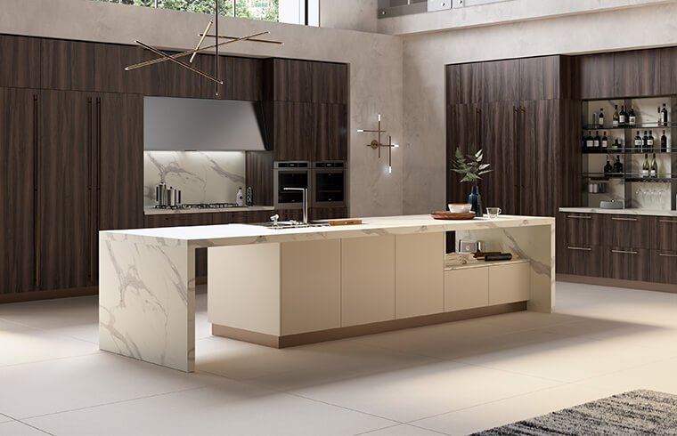 Vertical  Wood Veneer Kitchen Cabinet