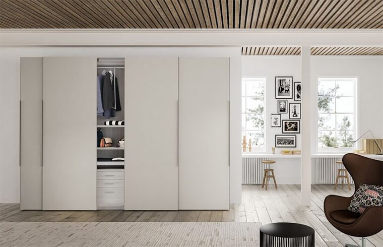 Modern Simple Style Melamine Sliding Door Wardrobe