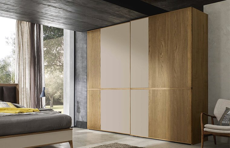Sliding Wood Grain With Two Mirror Door Closet