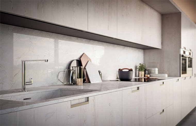 Textured Style Melamine Material Wood Grain Kitchen Cabinets