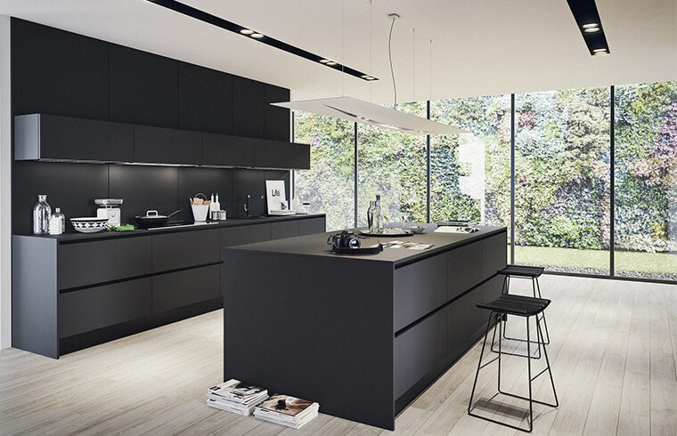 Modern Simple Style Melamine Material Pure Black Kitchen Cabinets