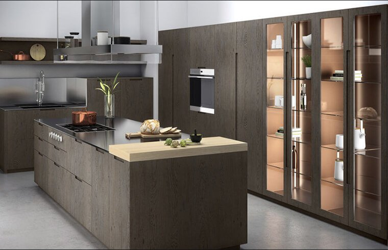 Business Style Calm Atmosphere Wood Veneer Kitchen Cabinets