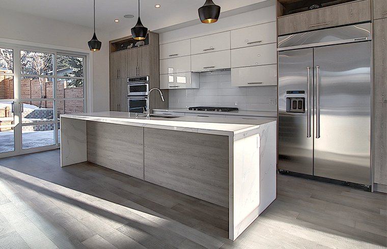 Grey Oak Laminated and High Gloss Lacquer Kitchen Cabinets