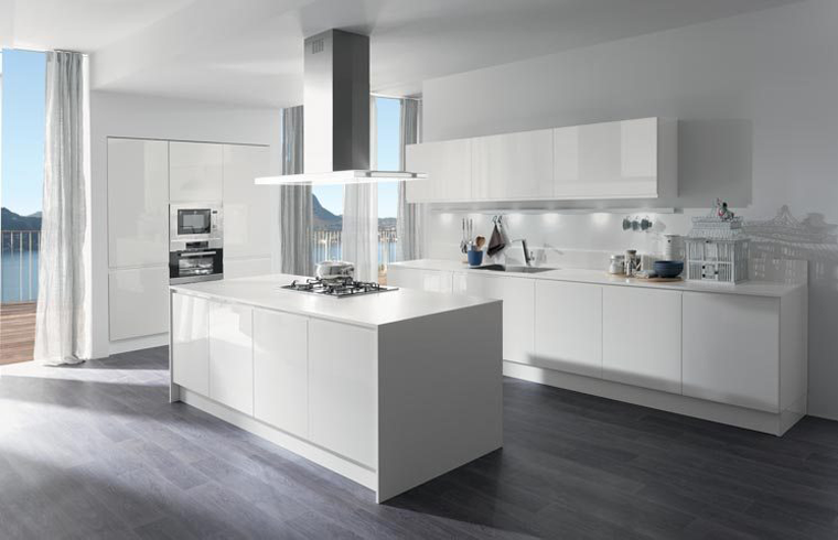 Modern  High Gloss Kitchen Lacquer Cabinets With Pure White Countertop