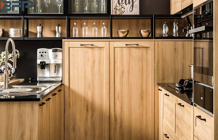 Classic European Countryside Style Melamine Wood Grain Kitchen Cabinets