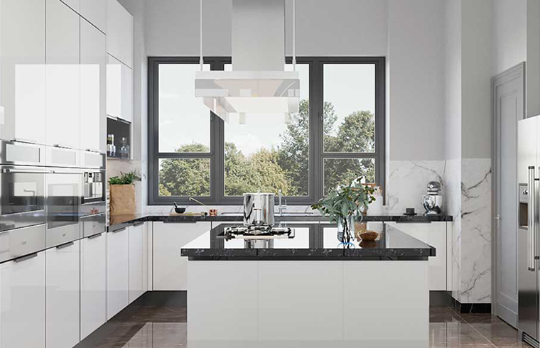 White Glossy Lacquer Large Kitchen Cabinets