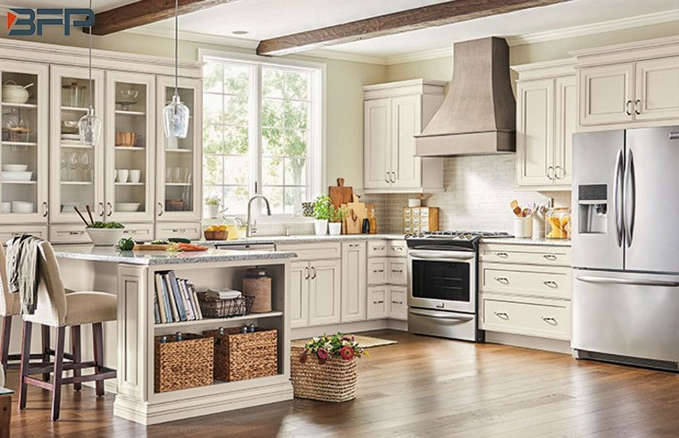 European Style Rustic Design White Wooden Countryside Kitchen Cabinets